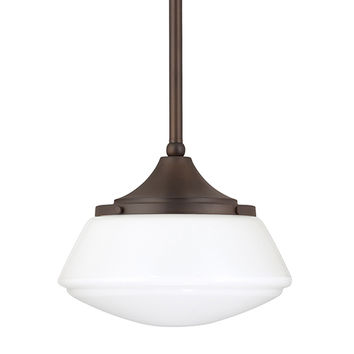 Capital Lighting Fixture Company 3531BB-129 Burnished Bronze One-Light Pendant with Milk Glass