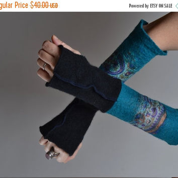 CHRISTMAS SALE Fingerless Arm Warmers - Cashmere Long Gloves - Nuno Felted Arm Warmers - Gift for her - Winter Accessories - Women's Gloves
