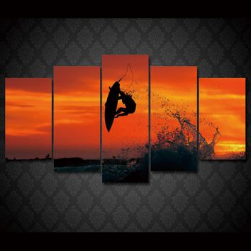 Extreme Surfing at Sunset Surf Board Sky Air Wave Wall Art on Canvas
