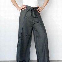 25% OFF Medium Grey - Unisex Pants.. String Tie Waist (Wrap pants) ... Loose And Comfy .