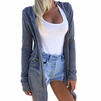 Women's Gray Long Sleeve Asymmetrical Cardigan Jacket
