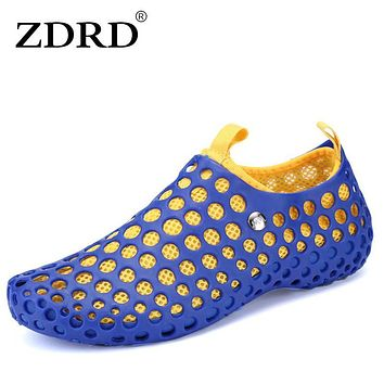 ZDRD Summer Men hawaiian slippers Breathable visvim sandals Hollow out of the drag men shoes rubber clogs Sandalias Hombre 2017