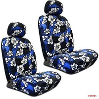 Licensed Official New Blue Hawaiian Flowers Hibiscus Print Car Front Low Back Bucket Seat Covers