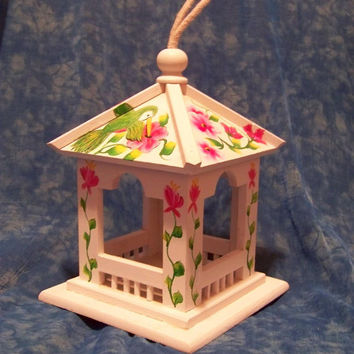 Hand painted Wooden Bird House Flower art hummingbird art