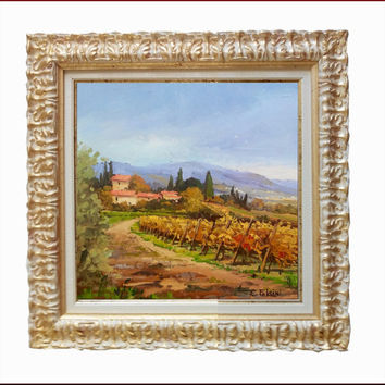 Italian painting Tuscany landscape with vineyard original of Cristina Falcini Italy+ Frame