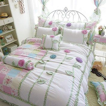 Three-Dimensional Flowers Bedding Set Fairy Girls Bed Set Korean Rulled Lace Bed Cover Twin Queen