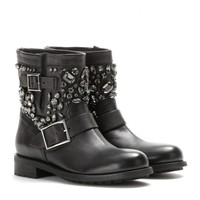 jimmy choo - youth embellished leather biker boots