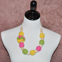 Teething Jewelry Nursing Mom Necklace Yellow Pink Green Crochet Baby Shower Gifts Ready to Ship