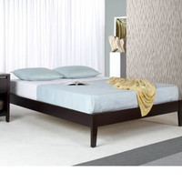 Full Size Asian Style Platform Bed in Espresso Wood Finish