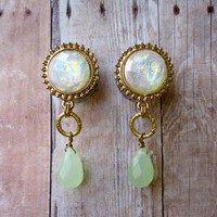 "LAST Pair of Opalite and Gold Plugs with Mint Dangles - Girly Gauges - 00g, 7/16"", 1/2"", 9/16"", 5/8"" - Feminine Plugs - Formal"
