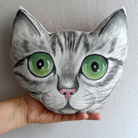 Cat Pillow, Handpaint Tabby Cat Portrait plush pillow, stuffed animal, gift for cat lovers, nursery decor