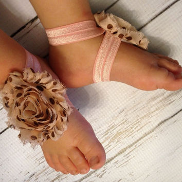 Baby Girl Barefoot Sandals...Pink w/Brown Polka Dot Barefoot Sandals...Baby Barefoot Sandals