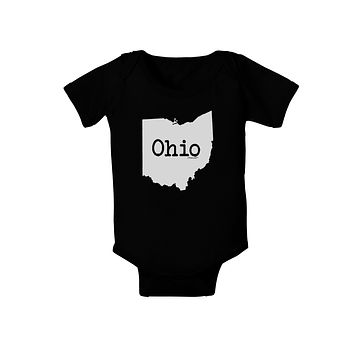 Ohio - United States Shape Baby Bodysuit Dark by TooLoud
