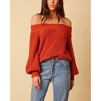 Off-shoulders knit bishop sleeves sweater - rust