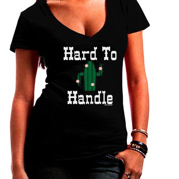 Hard To Handle Cactus Juniors Petite V-Neck Dark T-Shirt by TooLoud