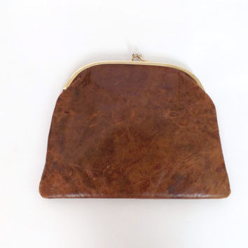 Vintage Made in Italy Genuine Leather Clutch Envelope Purse Brown Embossed Leather Arts and Crafts Art Deco Hand Tooled Baroque Scene 1920s