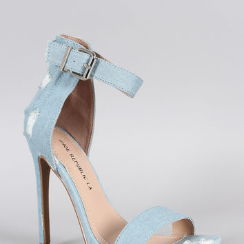 Shoe Republic LA Distress Denim Ankle Strap Heel
