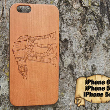 AT-AT Walker, Star Wars, Engraved iPhone 6 5 5s Wood Case, Made from Genuine Walnut or Cherry