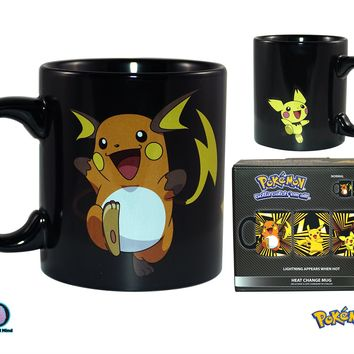 Pokemon OFFICIAL Pichu TO Raichu Evolution HEAT CHANGING Ceramic Coffee Mug, 20oz Black