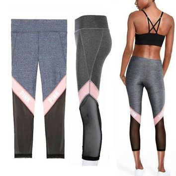 Gotopfashion Victoria's Secret PINK Net yarn Splicing Tight Gym Yoga Running Leggings