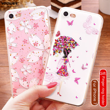 Vpower For Covers iPhone 7/7 plus Case Luxury Transparent Soft TPU 3D Relief Print Back Flip Cover Phone Bag For iphone7