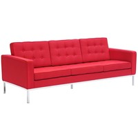 Button Sofa in Wool, Red