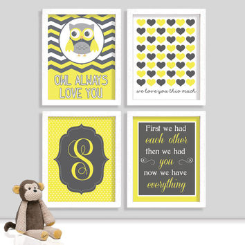 Set of Four Chevron Nursery Prints - First We Had Each Other - Owl Always Love You - Yellow Grey Nursery