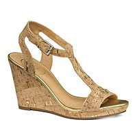 Willa Wedge Sandal in Cork and Gold by Jack Rogers - FINAL SALE