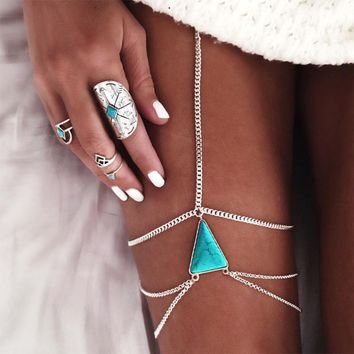Triangle Blue Stone Pendant Leg Chain