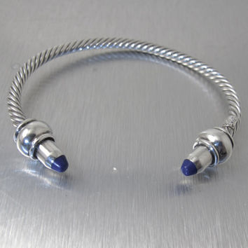 Taxco Sterling Cable Cuff Bracelet, Mexico Twist Bangle Bracelet, Lapis Lazuli End Caps TL-10, Vintage Sterling Lapis Unisex Jewelry