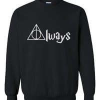 New Very Famous Harry Potter Deathly Hallows Always Printed Unisex Sweatshirt Jumper