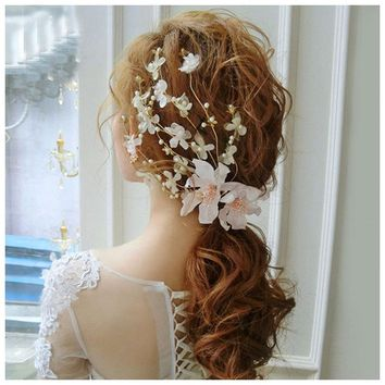 Hair Accessories Lace Flowers Pearl Bead Alligator Hairpin Fashion Romantic Wedding Duckbill Hair Clip Pin For Women Girl Bridal