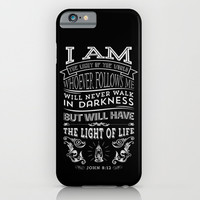 Typographic Motivational Bible Verses - John 8:12 iPhone & iPod Case by The Wooden Tree