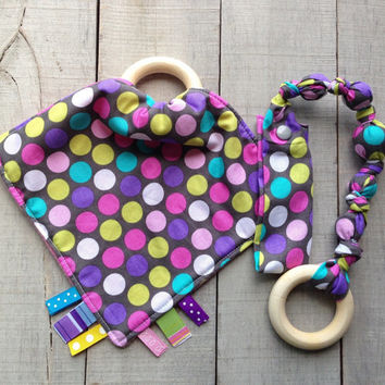 Diddly Dot Tula Tag blanket, Snap teether gift set, baby teething toy, polka Dots Ribbon blankie, fabric teether, Baby Shower gift set