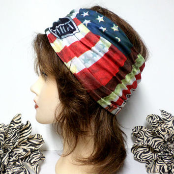 Red, White & Blue American Flag Headwrap, Yoga Headband, Wide Headband, Running Headband, Workout Headband, Turban Headband, boho, scarf