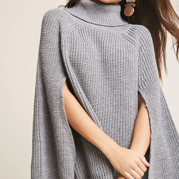 Ribbed Knit Cape Sweater