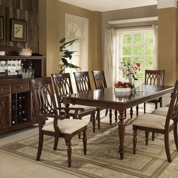 Acme 60745-47-48 7 pc farrel walnut finish wood dining table set with turned wood legs