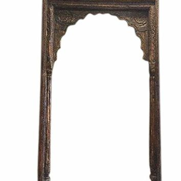 Antique Arch Columns Haveli Entrance Gate Huge Headboard Hand Carved Sun Medallion Traditional India Architectural Design 18c