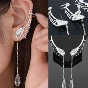 LMFUG3 1 Pair Angel Wing Stylist Crystal Silver Plated Earrings Drop Dangle Ear Stud Cuff Clip = 1946605700