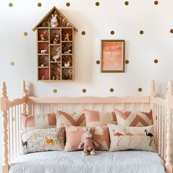 Free shipping Variety of sizes Gold Vinyl Wall Sticker Decal Art - Polka Dots , Gold Polka Dots for nursery wall