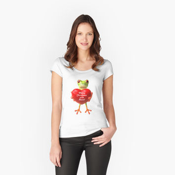 'Merry Christmas (3D Frog Art) (Single)' Women's Fitted Scoop T-Shirt by Powerofwordss