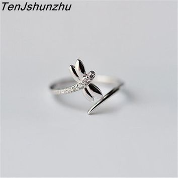 Fashion 925 Sterling Silver Dragonfly Rings for Women New Design Lovely Girls Christmas Gift Jewelry Adjustable Size Ring jz284