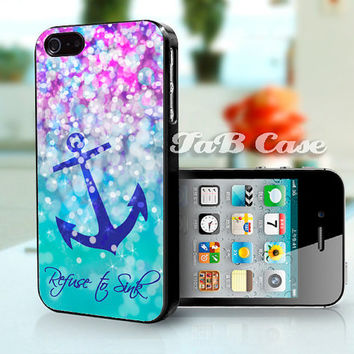 Refuse to Sink, Anchor iPhone 4 case, iPhone 5 case. Nautical iPhone 5 case. Sparkle iPhone 5 case. Rubber iPhone 4 case. Galaxy S3 Case.