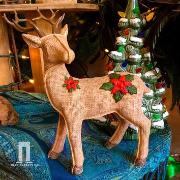 Linen and Burlap Look Deer for Christmas Holidays
