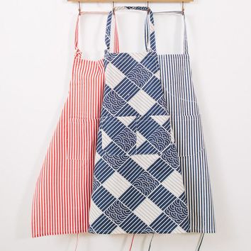 1Pcs Plaids Striped brief Style Apron Woman Adult Bibs Home Cooking Baking Coffee Shop Cleaning Aprons Kitchen Accessories 46029