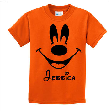 Personalized Mickey Mouse orange t shirt
