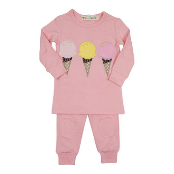 Teela Girls' Pink Ice Cream Loungewear