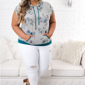 Curvy In This Moment Floral Hoodie (Navy/Grey)