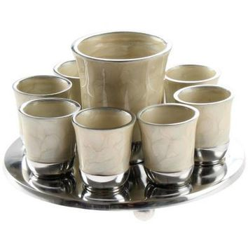 Aluminium Shot Glass Set 9 Cups with Tray 18cm