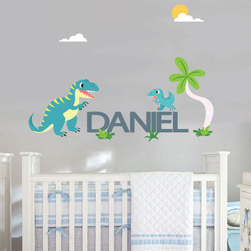 Dinosaur wall decals with name for nursery - T-REX and Baby T-rex -Removable & Reusable Fabric vinyl- Dinosaur wall decals for boys